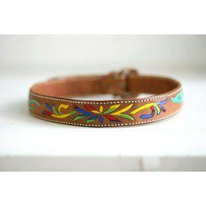 Vintage Handmade Leather Embroidered Belt